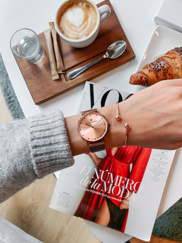 Coffee/Rose Gold Shiny ~ C.G. Mesh women Watch