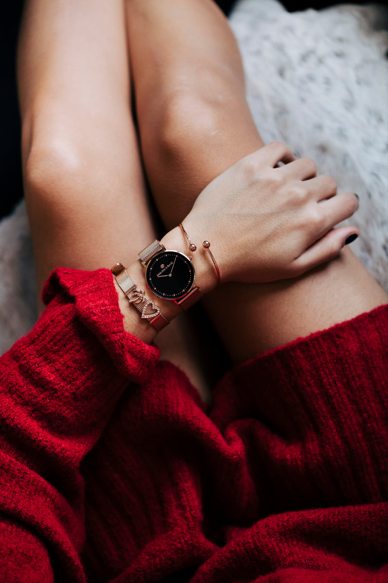 Rose Gold/Black ~ R.G. Mesh women Watch