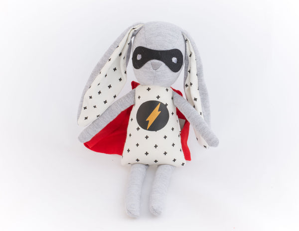 SUPER HERO BUNNY TOY RATTLE