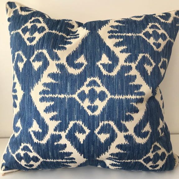 PILLOW - BLUE EMBROIDERED IKAT PRINT [JESSICA BLUE]