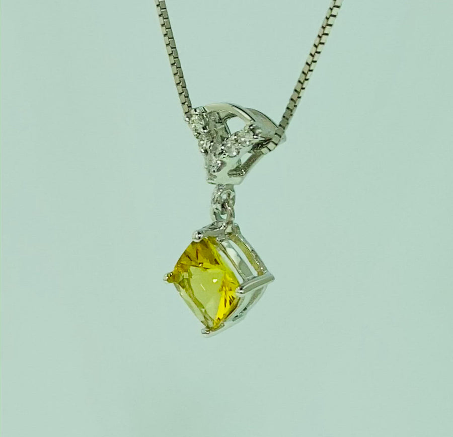 Square Cushion Pendant (diamond shape) - White Gold