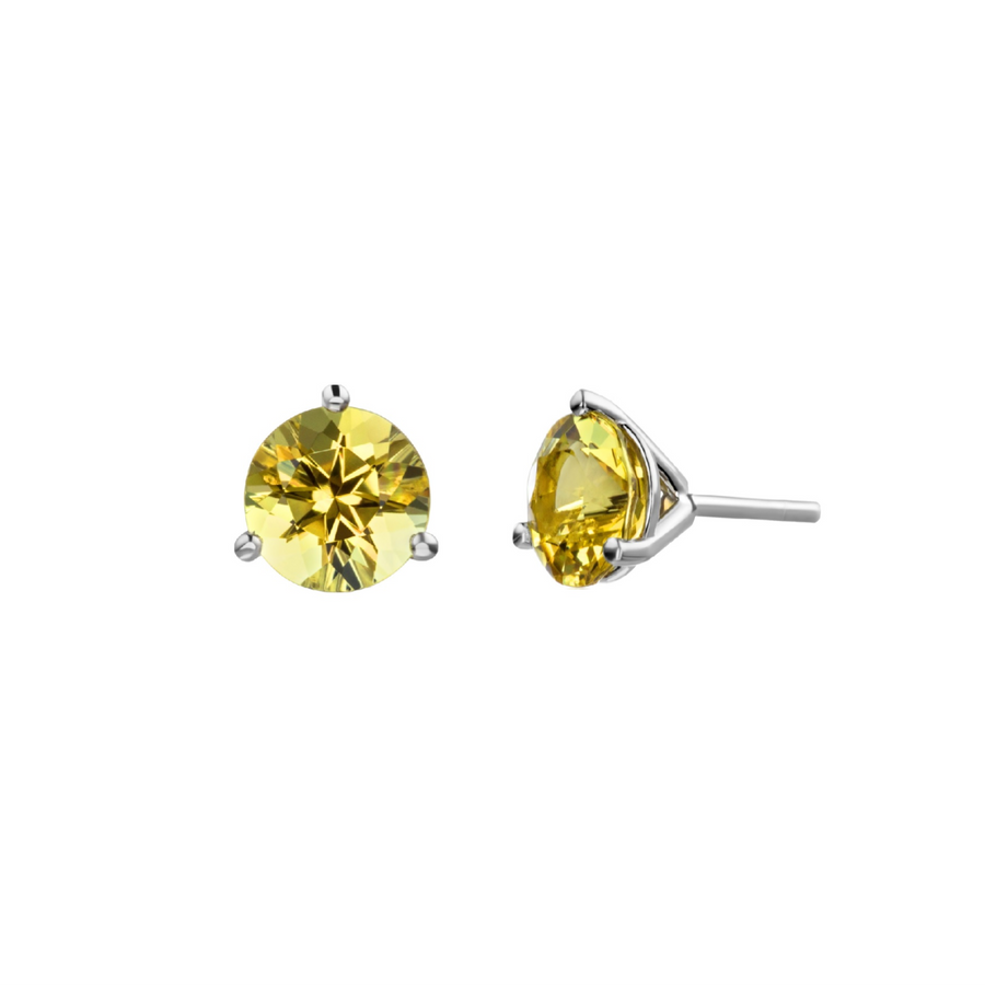 Martini Stud Earrings - White Gold