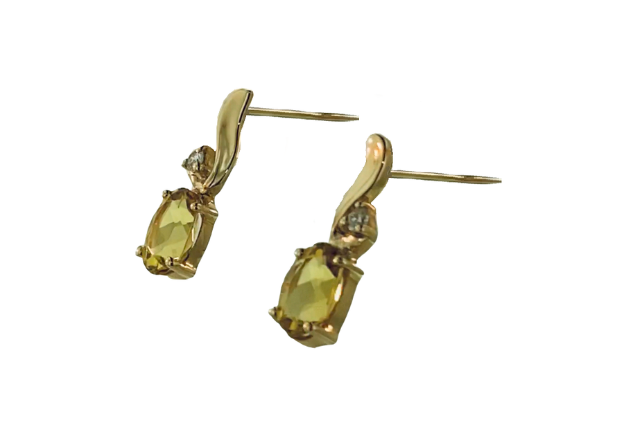 Oval Cut Earrings - Yellow Gold