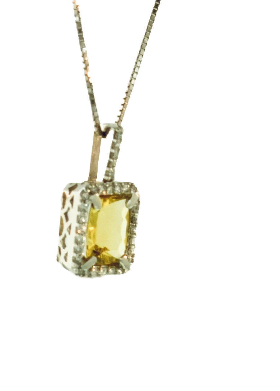 Antique Cushion Pendant - White Gold