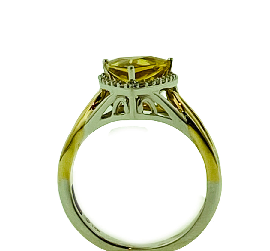 Trillion Ring - Two Tone Gold