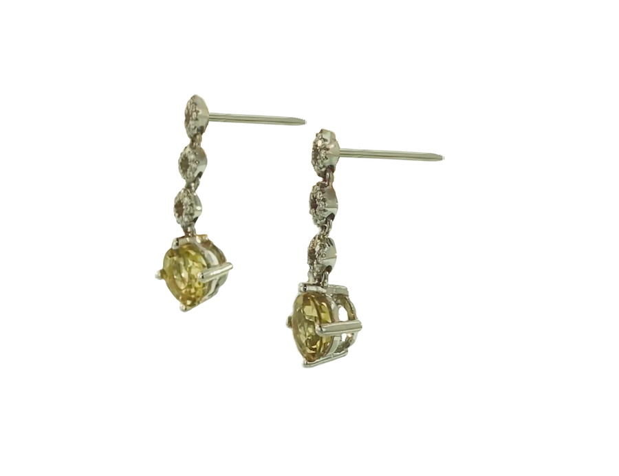 Round Dangle  Earrings - Yellow Gold