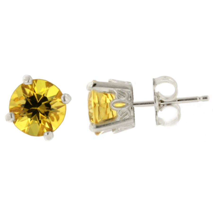 Crown Style Stud Earrings - White Gold (1.40ct.tw.)