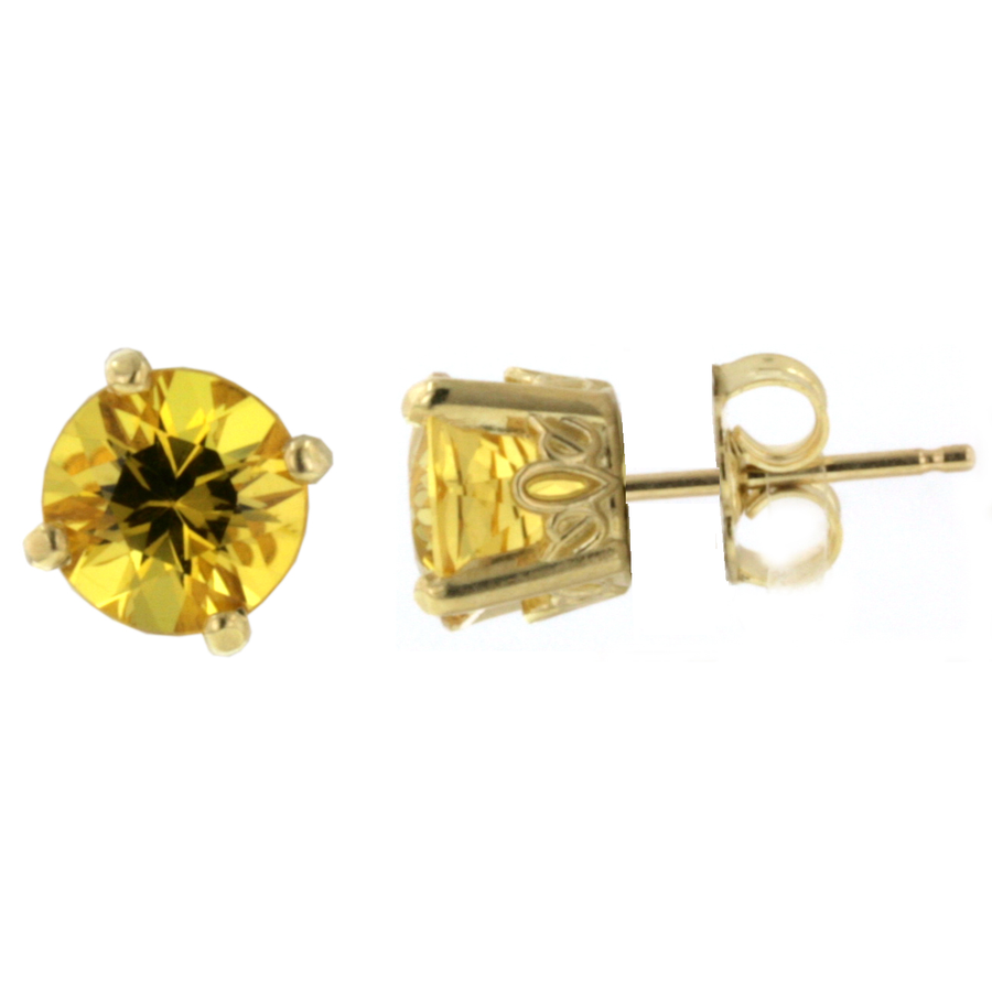 Crown Style Stud Earrings - Yellow Gold (.90ct.tw.)