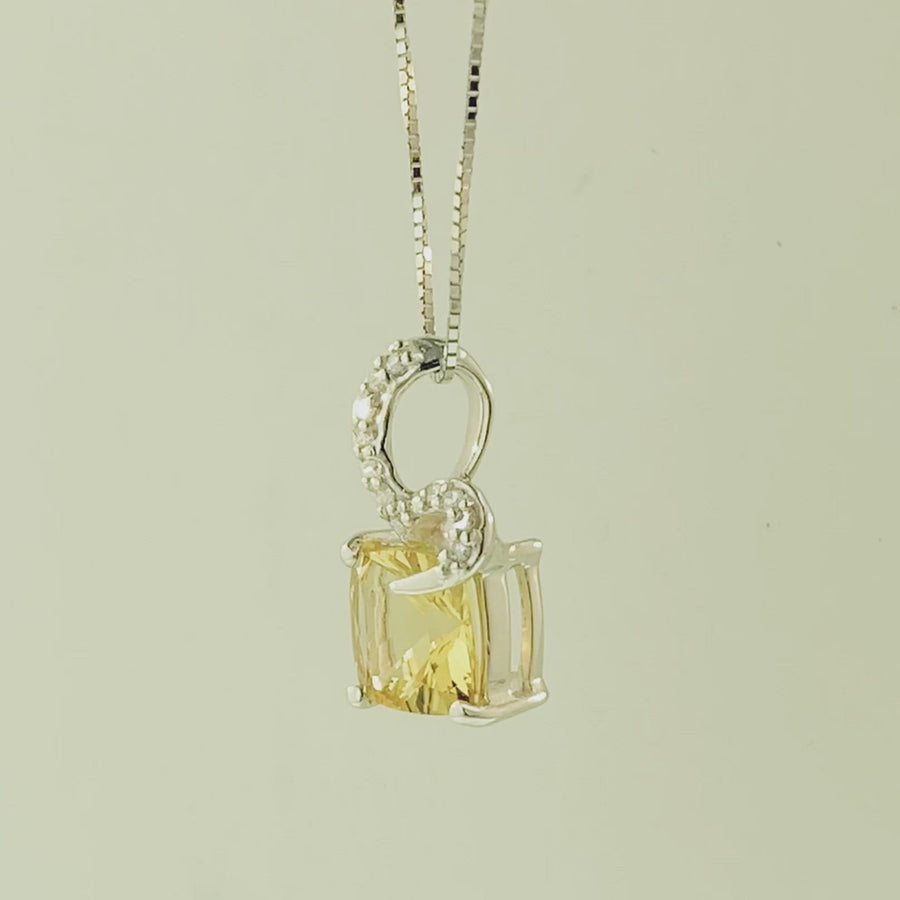 Square Cushion Pendant- White Gold