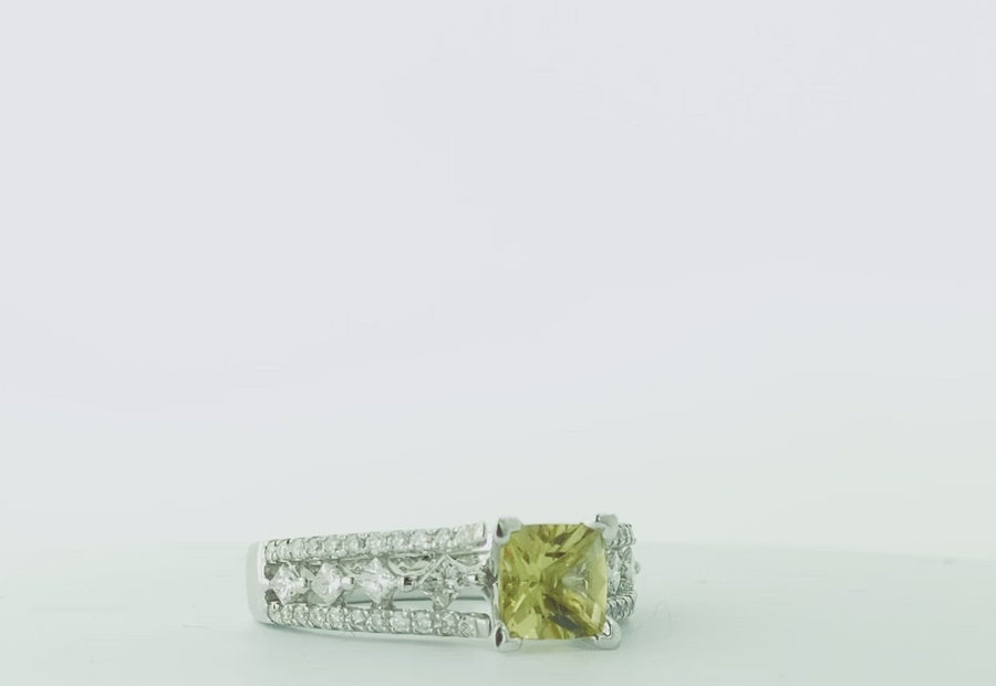 Square Cushion Ring- White Gold