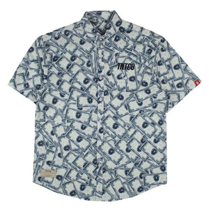 Money Everywhere Button Down Short Sleeved Shirt