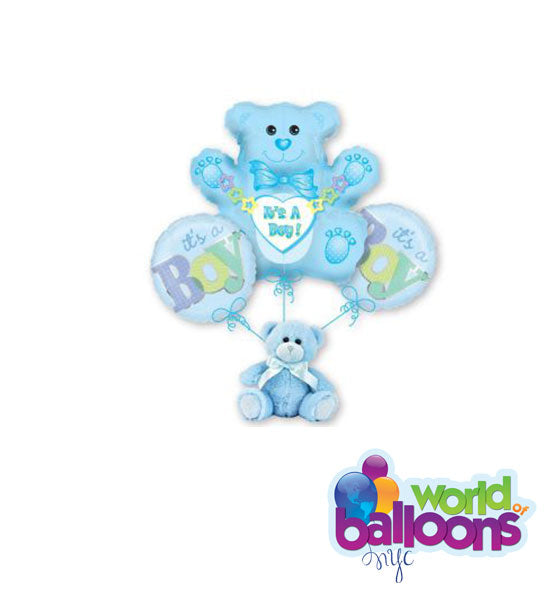 Teddy Bear Plush It's A Boy Balloon Bouquet