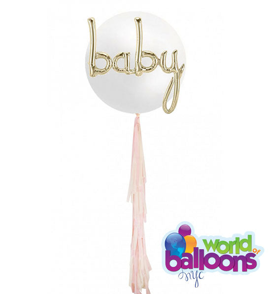 3Ft Jumbo White Baby Tassel Balloon
