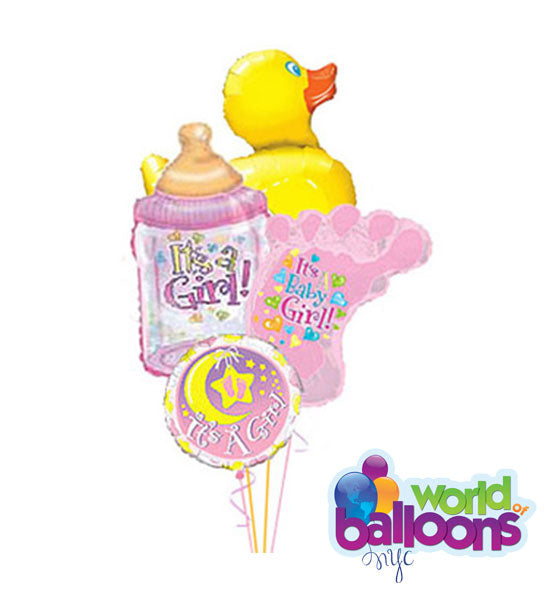It's a Girl! Ducky Assortment Balloon Bouquet Delux