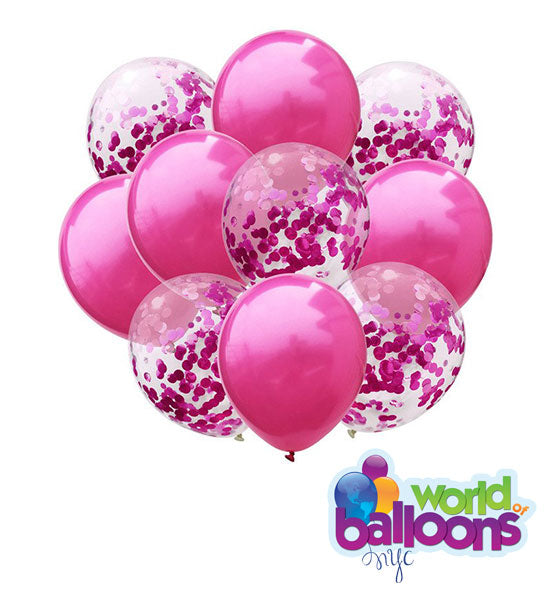 Pink Latex Confetti Balloon Bouquet