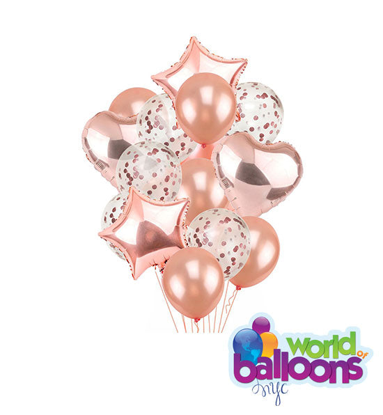 Rose Gold Heart and Confetti Balloon Bouquet