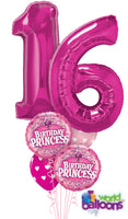 Pink Sweet 16 Number Balloon Bouquet