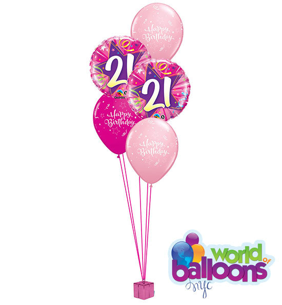 Pink 21st Bday Balloon Bouquet