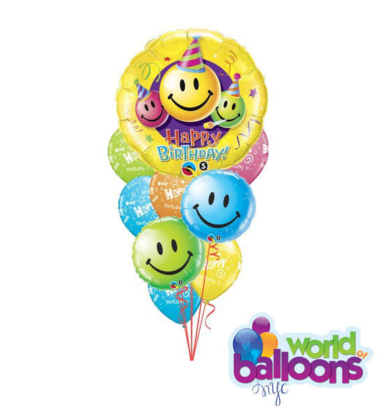Happy Faces Smiles Birthday Balloon Bouquet