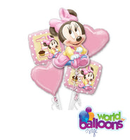Baby Minnie Mouse 1st Bday Balloon Bouquet