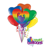 Rainbow Open Heart Balloon Bouquet
