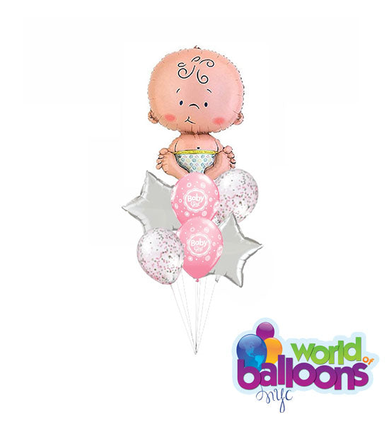 Baby Girl Balloon Bouquet (7 Pieces)