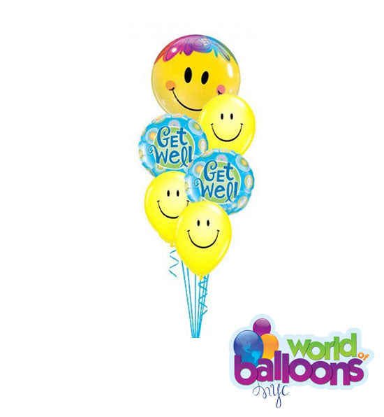 Happy Face Get Well Balloon Bouquet