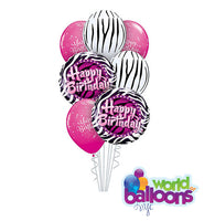 Zebra Birthday Balloon Bouquet