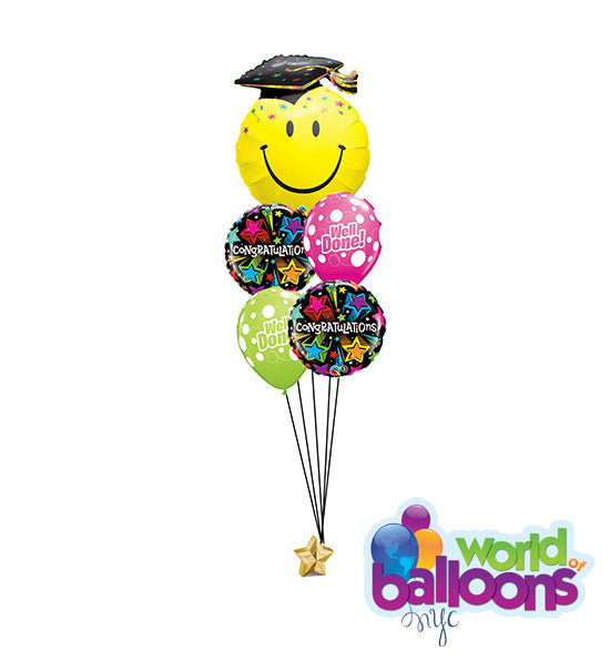 Congratulation Grad Happy Face Balloon Bouquet