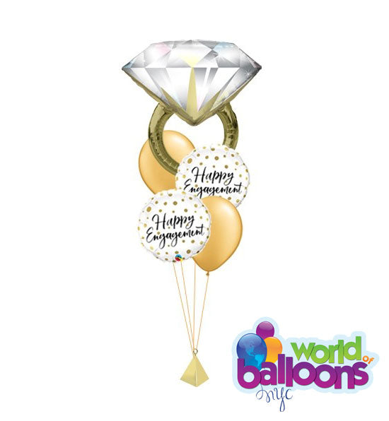 Happy Engagement Ring Balloon Bouquet