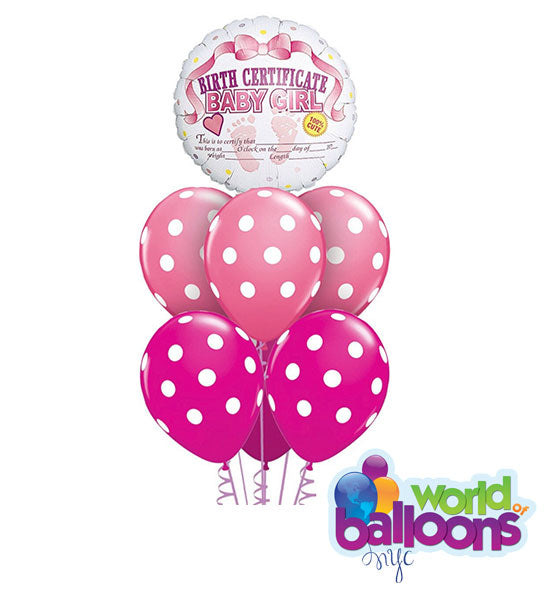 Birth Certificate Baby Girl Balloon Bouquet