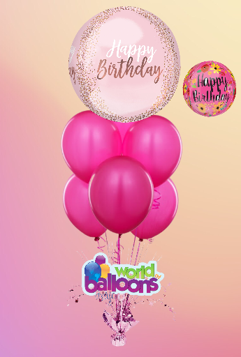 Birthday Blush Bubble Balloon Bouquet 7Pc