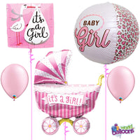Baby Girl Polka Dot Buggy Carriage Balloon Bouquet