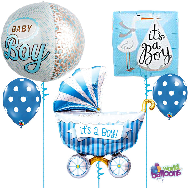 Baby Boy Polka Dot Carriage Balloon Bouquet