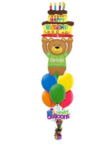 Giant Teddy Bear Happy B-day Balloon Bouquet