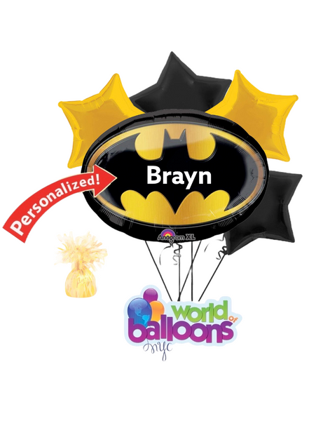 Batman Logo Personalized Balloon Bouquet