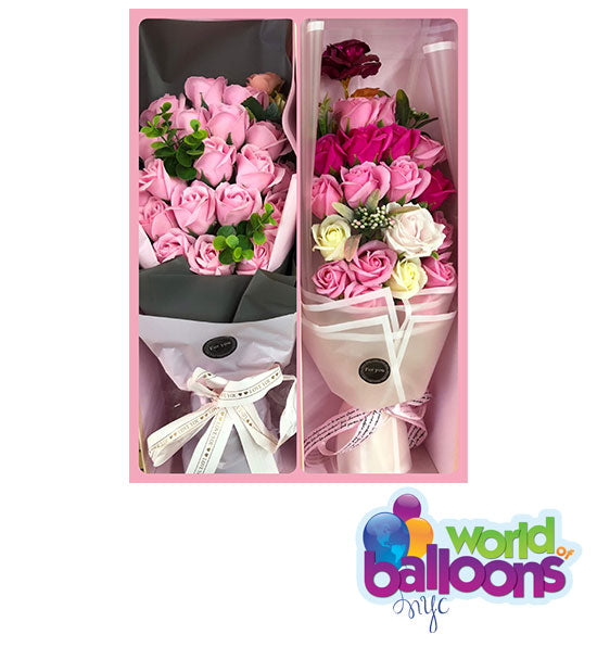 Soap Flower Fake Roses Bouquet  Medium Box