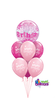 Pink Bubble Happy Birthday Balloon Bouquet