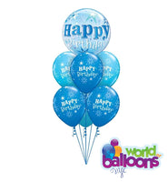 Blue Bubble Happy Birthday Balloon Bouquet