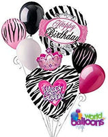 H-Bday Queen Zebra Balloon Bouquet