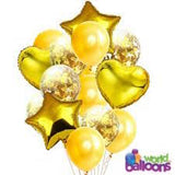 Gold Heart Confetti Balloon Bouquet