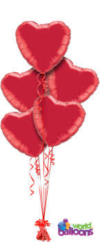 Red Heart Balloons Bouquet