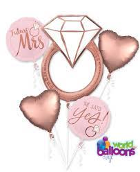 Engagement Ring Rose Gold Balloon Bouquet