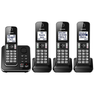 Panasonic KXTGD394C DECT 6.0 Expandable Digital Cordless Answering System 4-Handset- Refurbished