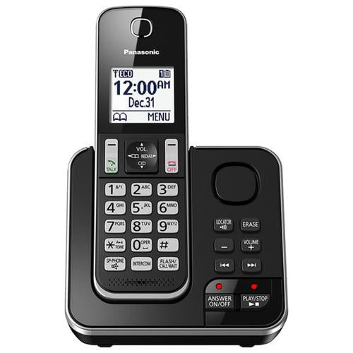 Panasonic 1 Handset Cordless Phone with Answering Machine - Black - KXTGD390B- Refurbished