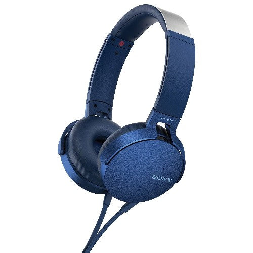 Sony On-Ear Headphones Extra Bass with Mic, Blue (MDRXB550AP/L) – Refurbished