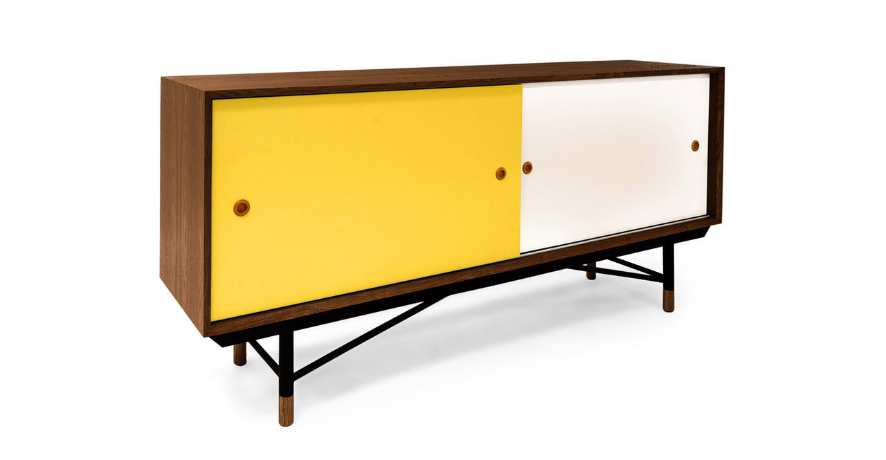 "COLOR THEORY SIDEBOARD, WALNUT/YELLOW 77"" - Home Office Makeover"