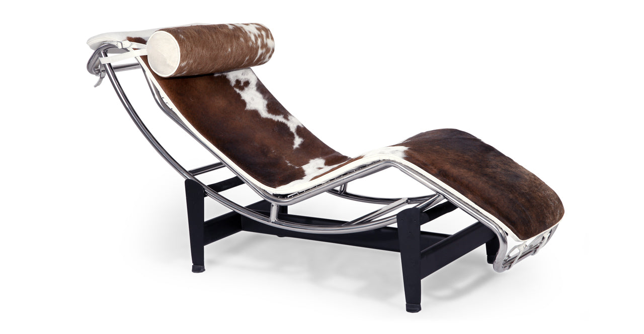 GRAVITY CHAISE LOUNGE - BROWN/WHITE COWHIDE BODY/PILLOW - Home Office Makeover