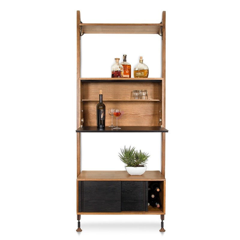 THEO WALL UNIT WITH BAR - HARD FUMED - Home Office Makeover