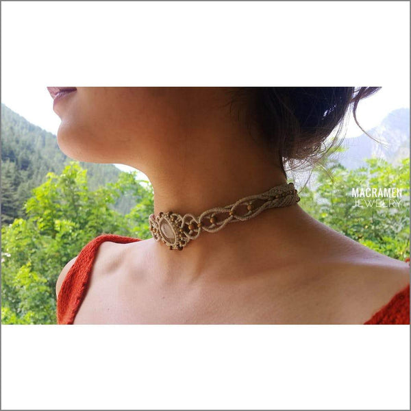 Choker Necklace Quartz Macrame Macramen Jewelry Collection No. M0116 Tie Wrap Chokers